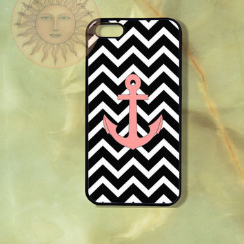 Black Chevron Pink Anchor-iPhone 5, 5s, 5c, 4s, 4, ipod touch 5, Samsung GS3, GS4 case-Silicone Rubber or Plastic Case, Phone cover
