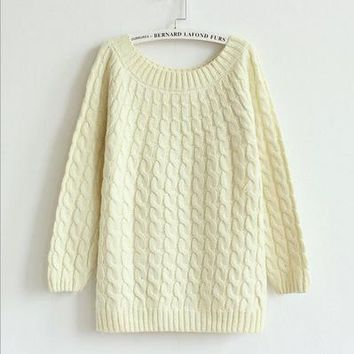 Womens Pretty Knit Casual Warm Sweater