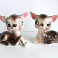 Fawn Deer Figurines, Kitsch Deer Salt and Pepper Shakers