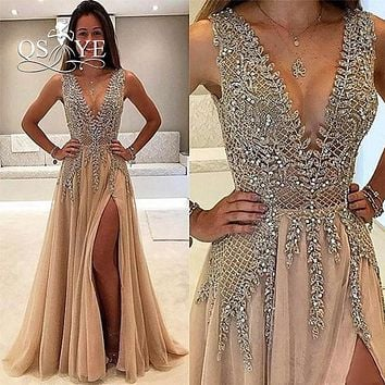 Sexy Deep V Neck Long Champagne Tulle Prom Dresses 2017 Vestido de Novia High Slit Women Formal Evening Party Gowns Custom Made