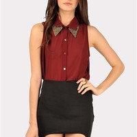Alexa Spiked Top - Burgundy at Necessary Clothing
