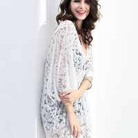 White Floral Crochet Lace V Neck Elastic Waist Poncho Cover Up Blouse