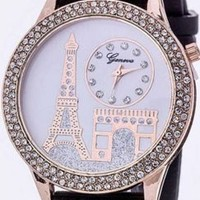 White Black Pink Gold Stretch Jelly Eiffel Tower Bling Crystal Paris Watch