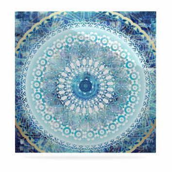 "Nina May ""Ornate Boho Mandala"" Blue Teal Mixed Media Luxe Square Panel"