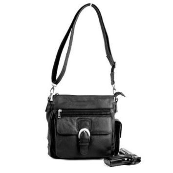 Roma Leathers 7084 Black Messenger Crossbody Concealed Purse