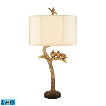 93-052-LED Three Bird Light LED Table Lamp in Gold Leaf and Black - Free Shipping!