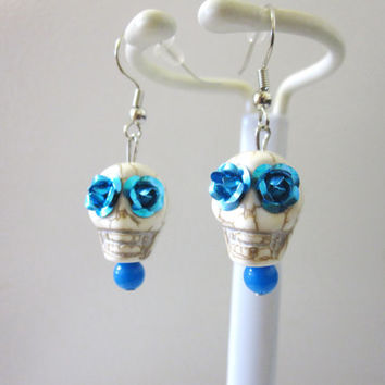 Day of The Dead Earrings Sugar Skull Jewelry White