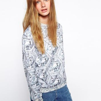 Jaded London Honeycomb Diamond Sweat - White