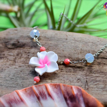 Pink Plumeria Jewelry from Hawaii, Tropical flower Hawaiian necklace for beach brides by Mermaid Tears