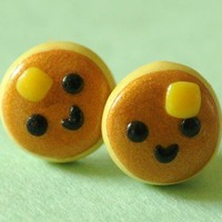 Handmade Smiley Pancake Stud Earrings - Whimsical & Unique Gift Ideas for the Coolest Gift Givers