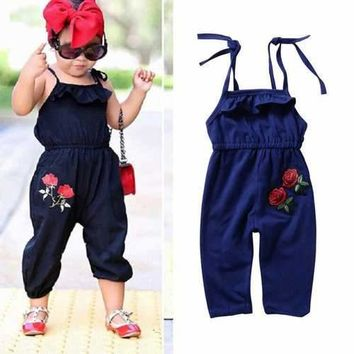 Rose Embroidery Girl Summer Jumpsuits