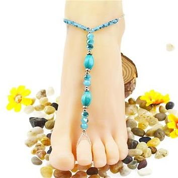 Crystal Turquoise Toe Ring Anklet Foot Jewelry