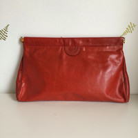1960's Large Red Leather Clutch Purse / Handbag /Mod / 60s Vintage