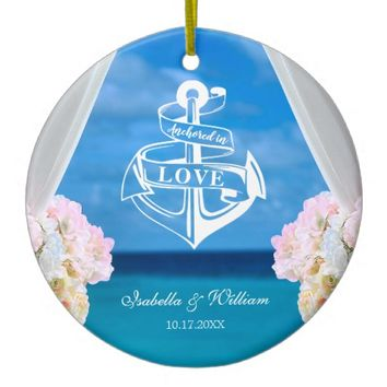 Modern Floral Blue Ocean Beach Wedding Ceramic Ornament