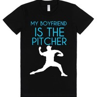 My boyfriend is the pitcher-Unisex Black T-Shirt