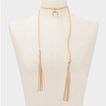 Boho Beige Braided Twist Suede Gold Double Horn Crystal Rhinestone Pendant Tassel Necklace