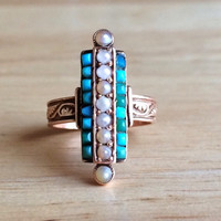 Antique Turquoise Ring - Victorian 14kt Rose Gold Seed Pearl - Size 4 1/4 Sizeable Alternative Engagement - Wedding Vintage Jewelry