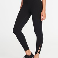 High-Rise 7/8-Length Lattice-Hem Yoga Leggings for Women |old-navy