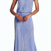 Fully Beaded Hallter Blouson Gown - Adrianna Papell