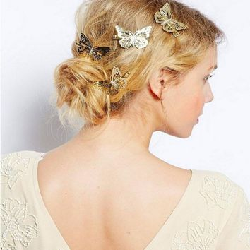 Women Shiny Silver Color Butterfly Hair Clip Headband Hairpin Accessory Headpiece Hair Accessories