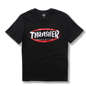 """thrasher""Letters print short sleeve  women round neck T-shirt man Cotton back blank"