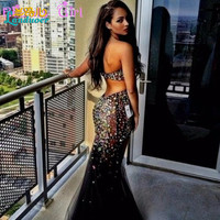 Colorful Rhinestones Sweetheart Mermaid Prom Dresses 2016 Sexy Backless Strapless Women Formal Dress Long Party Evening Gowns