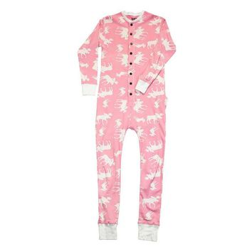 DCCKU3R Pink Classic Moose Flapjack Youth Union Suit