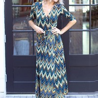 Veronica M Plume Print Maxi Wrap Dress-&128.00 | Hand In Pocket Boutique