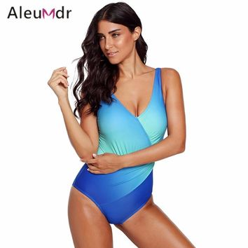 Aleumdr One Piece Swimsuit Women Sexy Blue/Rosy Ombre Tie Dye Wrap Front Teddy Swimwear LC410700 Costumi Da Bagno Donna