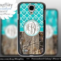 Monogram Galaxy S4 case S5 Browning Aqua Teal Real Tree Camo Deer Personalized RealTree Quatrefoil Samsung Galaxy S3 Case Note 2 3 Cover
