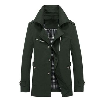 Cool Casual Solid Windbreaker Coat