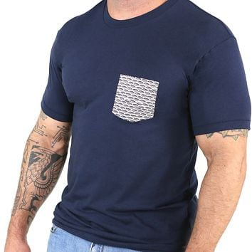 Navy with Wave Print Pocket Tee