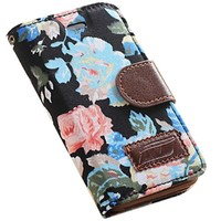 OMIU Leather Flowers Wallet Case Card Holder with Stand View Function, Screen Protectors, Stylus and Cleaning Cloth for iPhone 4S - Black