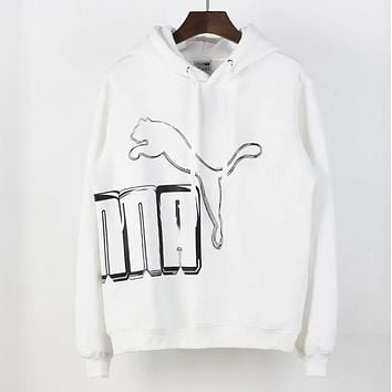PUMA Autumn And Winter New Fashion Letter Print Women Men Leisure Hooded Long Sleeve Sweater White