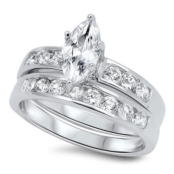 Sterling Silver CZ 1.25 carat Marquise Cut Channel Set Wedding Ring Size 4-10