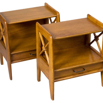 French Oak Bedside Tables, Pair