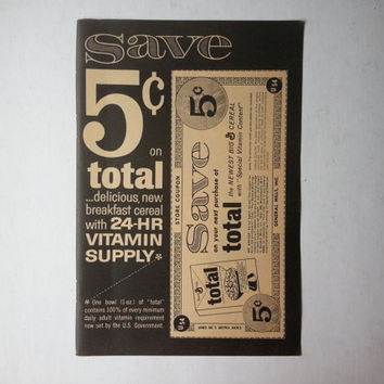 1950s coupon for Total Cereal . vintage coupons . vintage book pages . paper ephemera . coupon vintage magazine page . vintage coupon page