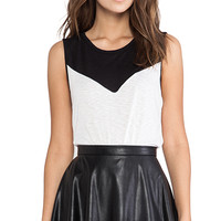 David Lerner Color Block Muscle Tank in Black & White