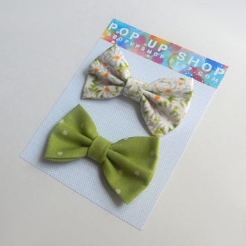 Daisies Hair Bows / Daisy Hairbows / Green & White Bow Clips Set / Polka Dots / Flowers
