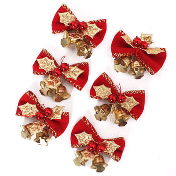 6 PCS Merry Christmas 5cm Bowknot with Small Bell Decor Christmas Tree Hanging Decoration Xmas Bowknot Ornament [9343527364]