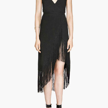 Black V-Neck Fringed Asymmetrical Dress