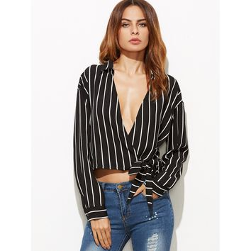 Vertical Striped Plunge Surplice Wrap Blouse