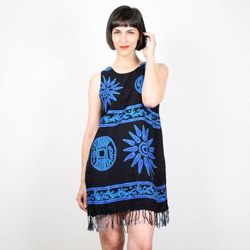 Vintage 90s Dress Mini Dress Blue Black Sundress 1990s Dress Fringe Hem Rayon Batik Print Soft Grunge Dress Hippie Boho Festival S M Medium