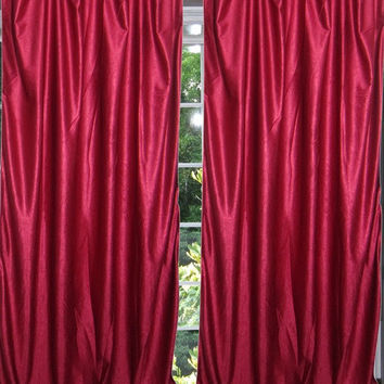 "Maroon Tab Top Sari Curtain / Drape / Panel- Pair Window Treatment (Size: Length: 84"".)"