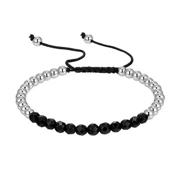 Silver & Black Bead Ball Links 14k White Gold Finish New Braided Lock