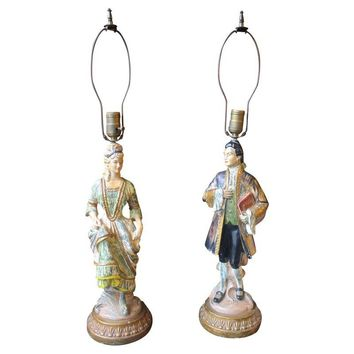 Pre-owned 1950's Antique Chalkware Figurine Lamps