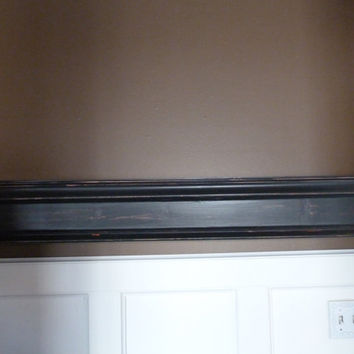 "READY TO SHIP, Black 52""L Wood Mantel, Floating Shelf, Farmhouse Style, Black, Mantel, Shelf, Fireplace, Wall Hanging, Mothers Day"