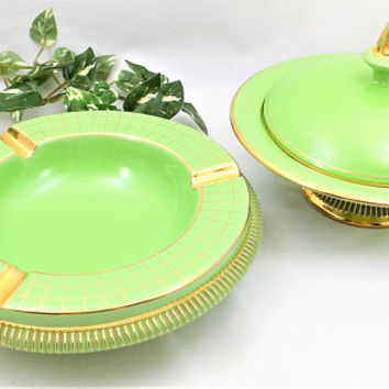 Green Florentine Ceramic Set, Ashtray and Candy Dish, Gold Painted Trim, Hand Made in Italy,