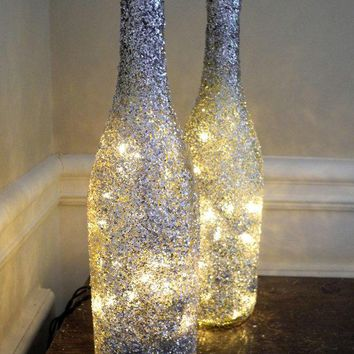 1 Glitter Lighted Wine Bottle Wine Bottle Lamp Bar Light