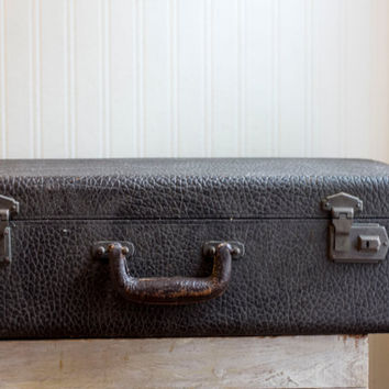 Antique Suitcase, Black Cowhide Suitcase, Vintage World Traveler, Steampunk Luggage, Mens Mans Hard Travel Case, Victorian Prop or Decor
